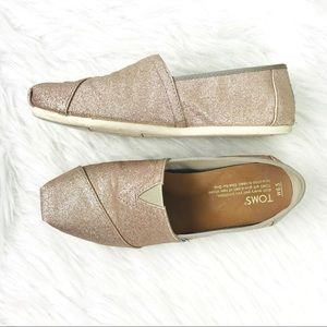 TOMS Rose Gold Glimmer Classic Slip On Canvas Shoe
